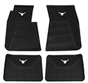 58/60 Thunderbird Front and Rear Floor Mats, Black with White Emblem
