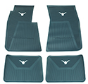 58/60 Thunderbird Front and Rear Floor Mats, Aqua with White Emblem
