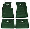 58/60 Thunderbird Front and Rear Floor Mats, Green with White Emblem