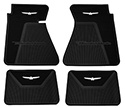 61/63 Thunderbird Front and Rear Floor Mats, Black with White Emblem
