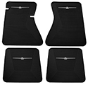 64/66 Thunderbird Front and Rear Floor Mats, Black with White Emblem