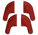 58-60 Seat Hinge Cover Set, Red