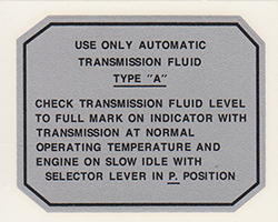 Automatic transmission decal,  (glove box)