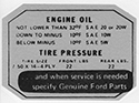 Engine oil/tire pressure decal